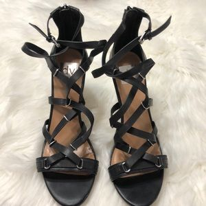 Dolce Vita Black leather heels sz 10 ankle strap